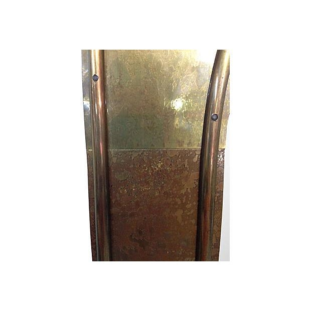 Image of 1970s Solid Brass Arched Framed Mirror