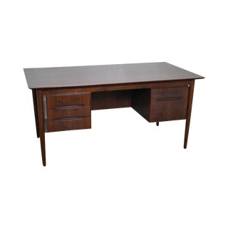 Selig Danish Modern Teak Bookcase Back Desk