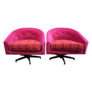 Ward Bennett Style Magenta Swivel Chairs - A Pair