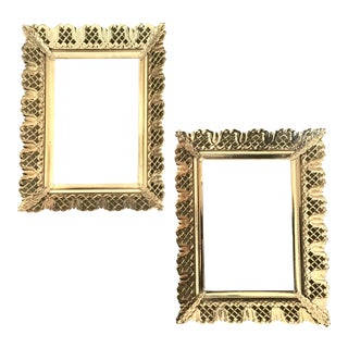 Vintage 5x7 Brass Filigree Frames - A Pair