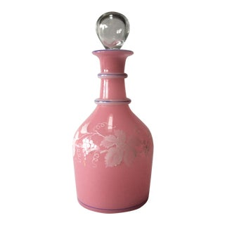 19th Century French Pink Glass Decanter