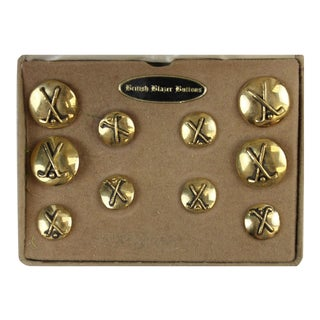 Briar British Brass 'X'd Golf Clubs' Blazer Buttons - Set of 10