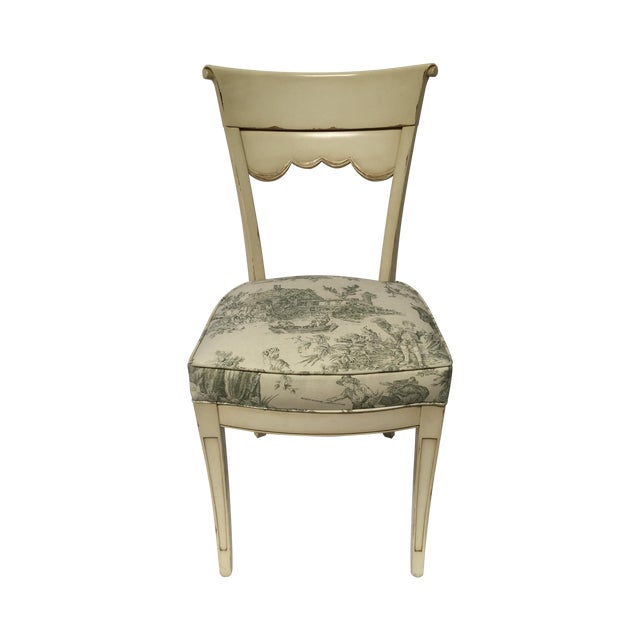 Set Of 4 Country Cream Dining Chairs: Distressed Cream Toile Dining Chairs - Set Of 4
