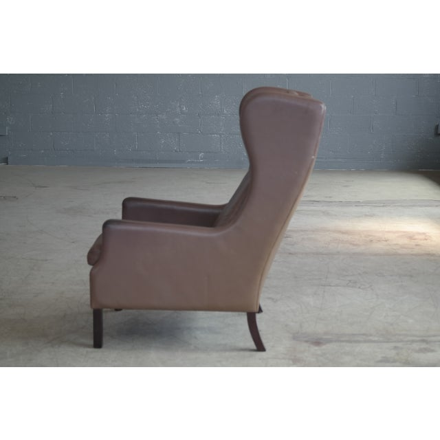 Borge Mogensen Style Leather Wingback Chair - Image 8 of 8
