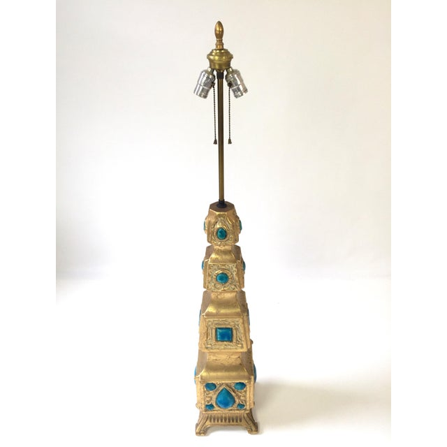 Pagoda Style Gilded Gem Lamp - Image 2 of 5