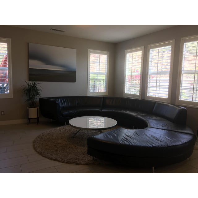 American Leather Black Leather Sectional - Image 3 of 11
