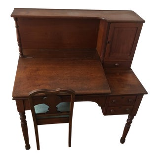 Antique Redwood Writing Desk & Chair