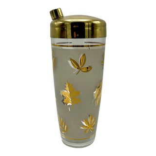Mid-Century Gold Leaf Patterned Frosted Glass Cocktail Shaker With Brass Lacquered Lid