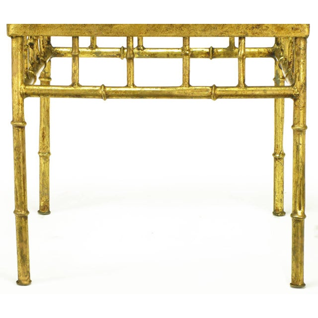 Pair of Glazed Gilt Metal Faux Bamboo End Tables - Image 4 of 5