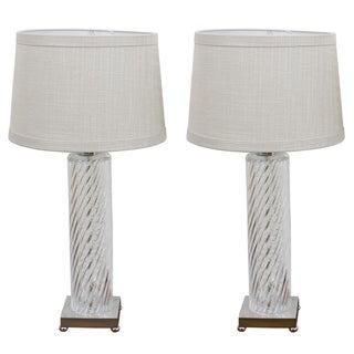 Spiral Twist Glass Column Lamps - Pair