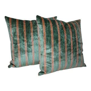 Striped Green Silk Velvet Pillows