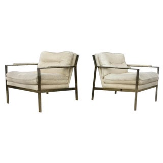 Milo Baughman Style Lounge Chairs - Pair