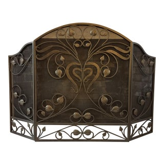 Deco Inspired Iron Fireplace Screen