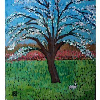 """Spring Time in My Backyard"" Acrylic Painting"