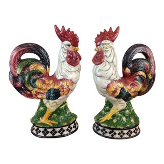 Ceramic Rooster Figurines - A Pair