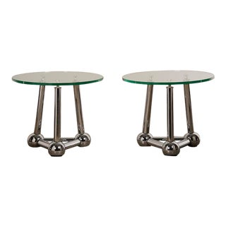 Pair of Vintage French Chrome Atomic End Tables with Glass Tops circa 1970