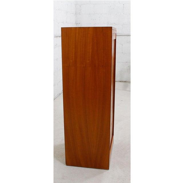 Tall Teak Locking Tambour Door Jewelry Cabinet - Image 6 of 9
