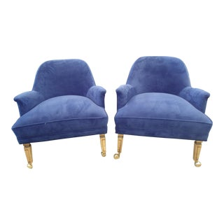 Reupholstered Blue Velvet Chairs - A Pair