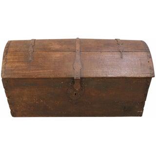 1820s French Oak & Iron Trunk