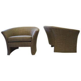 Architectural Shape Lounge Chairs - A Pair