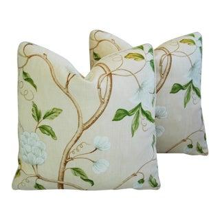 Designer Cowtan & Tout Snow Tree Linen Pillows - a Pair