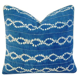 Custom Blue & White Batik Cotton/Linen Pillow