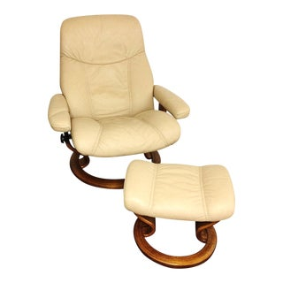 Ekornes Stressless Sand Paloma Leather Chair Recliner & Ottoman
