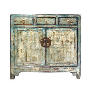 Distressed Blue Tall Credenza