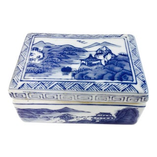 Chinese Blue & White Porcelain Trinket Box