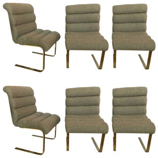 Hollywood Regency Brass Base Dining Chairs - Set of 6