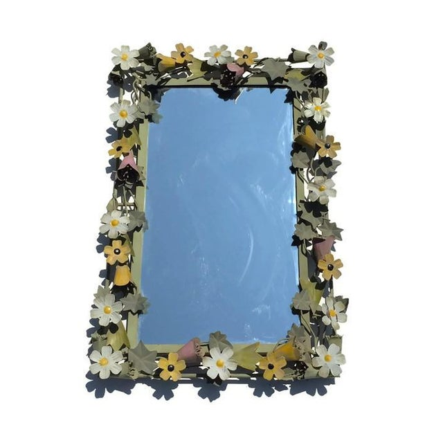 Vintage French Metal Tole Ware Flower Mirror - Image 1 of 6