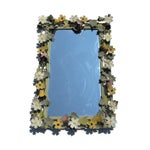 Image of Vintage French Metal Tole Ware Flower Mirror