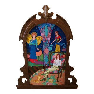 Original Painting of Knitter in Victorian Gilded Frame by Fay Sciarra