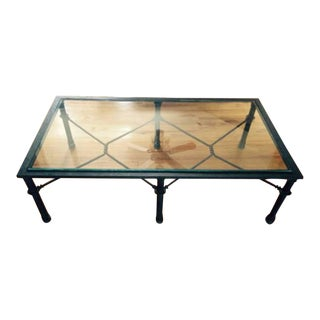 Black Iron and Glass Coffee Table