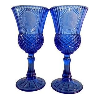 Vintage Cobalt Glass Goblets. Bicentennial Avon Cameo Goblets - a Pair