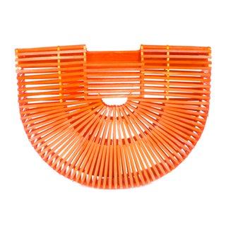 1960s Orange Geometric Asian Wood Handbag