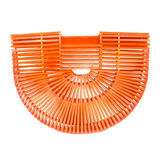 1960s Orange Geometric Asian Wood Handbag