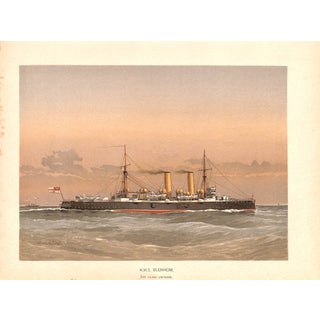 Hms Blenheim, Naval Ship, Chromolithograph, 1890