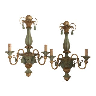Antique Hand Carved Italian Wall Sconces - Pair