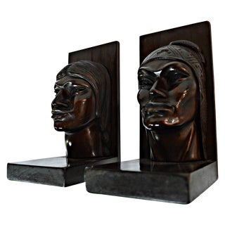 Wooden Native American Heads Bookends - 2