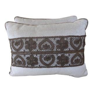 Silk Velvet Beige Pillows w/Lace Flowers - Pair
