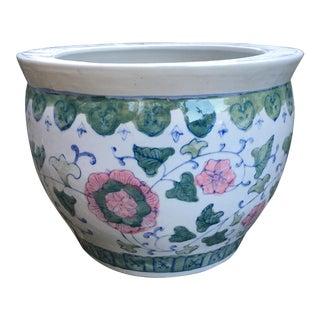 Vintage Chinoiserie Large Porcelain Garden Pot