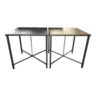Industrial Style Metal Side Tables - A Pair