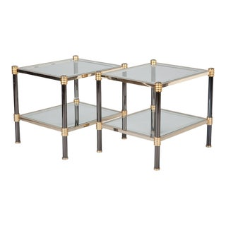 Pair Mid Century Chrome Brass and Glass Side Tables Attributed to Roche Bobois
