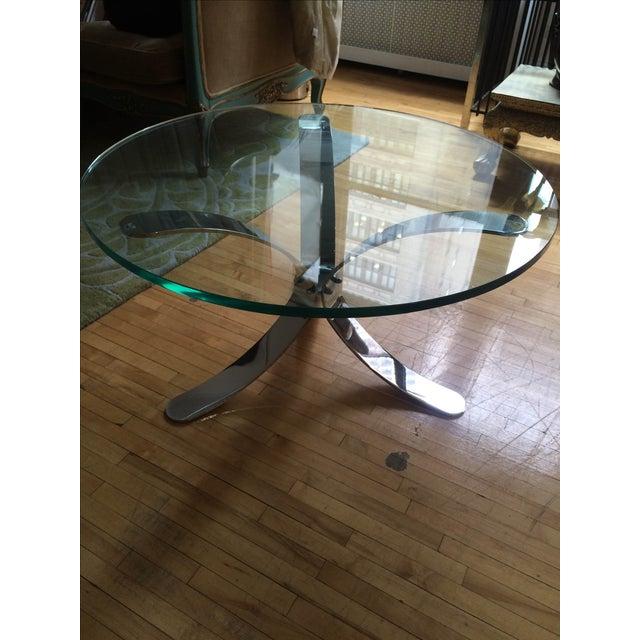 Chrome Base Circle Glass Top Coffee Table - Image 11 of 11