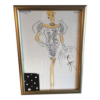 Framed Givenchy Croquis of a Polka Dot Dress