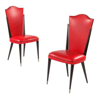 Vintage French Red Vinyl Side Chairs - A Pair