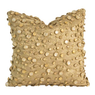 Beaded Gold Voile Pillow