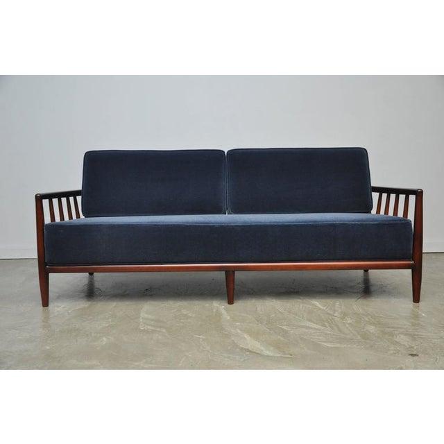 T.H. Robsjohn-Gibbings Open-Arm Sofa in Deep Blue Mohair - Image 3 of 6