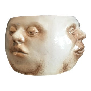 Four Phases Faces Hand Carved Pottery Vase